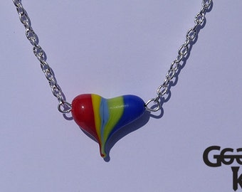 Rainbow Heart necklace, lampwork bead necklace