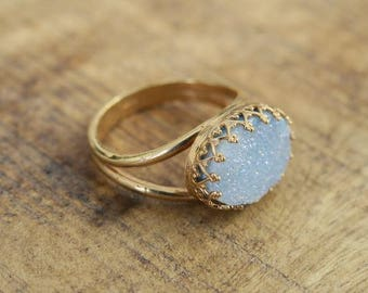 MOTHERS DAY GIFT, Blue Agate Ring, Crown Ring Gold, Blue Stone Gold Ring, Blue Gold Ring, Big Stone Ring, Gold Ring, Unique Rings, Wife Gift