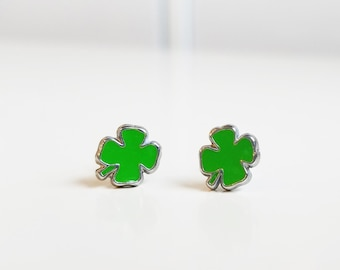 Four leaf clover stud earrings with plastic posts for sensitive ears