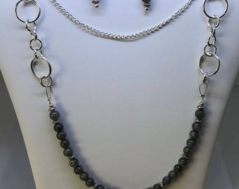 Labradorite Chain Necklace & Earrings Set