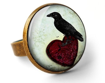 Raven and Red Heart No.2 Ring (RR09)