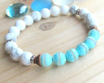 Gemstone bracelet, Tibetan agate & Howlite, reiki charged, blue, white, with copper accents, beaded stretch yoga bracelet, intention mala