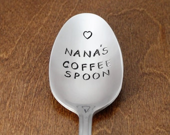 Mothers Day Gift For Grandma Gift Nanas Coffee Spoon Hand Stamped Spoon Unique Birthday Gift For Nana Gift Grandparents Day Gift Grandmother
