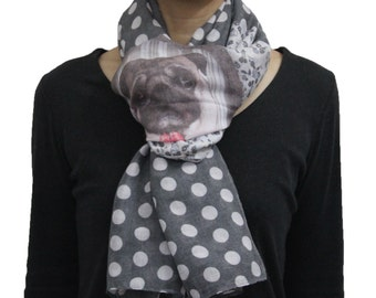 Cute Mr. Pug in Mirror with Polka Dot Printed Soft Scarf  Black For  Dog Lover