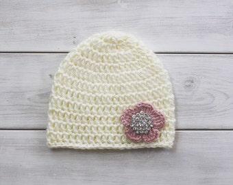 Flower with Crystal Embellishment Crochet Hat