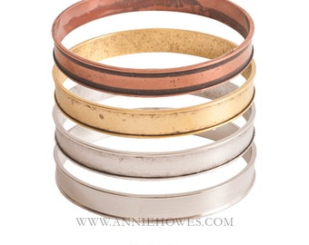 Wide Bangle Bracelet with Channel in Your Choice of Color. Bangle - BBC
