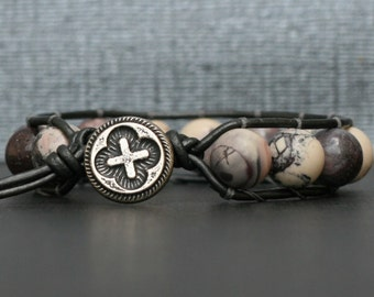 stacking bracelet - porcelain jasper on pewter leather - single wrap - boho gypsy bohemian - lavender white cream