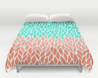 Duvet Cover Teal Mint Green Coral Leaf Shape Design Pattern Twin Twin xl Full Queen King Bedspread