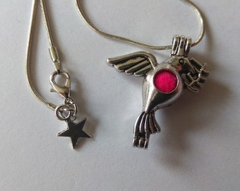 Silver Dove, pink felt pendant aromatherapy essential oil diffuser and lava stone necklace