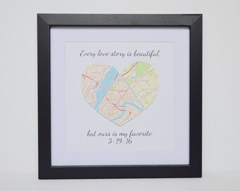 Anniversary Gift for Wife, Gift for Wife, Gift for Husband, Gift for Boyfriend, Gift for girlfriend, Unique Home Decor, Framed Map