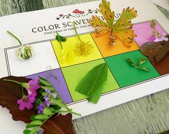 Nature Color Scavenger Hunt - Printable Kids Activity, Party Game - INSTANT DOWNLOAD