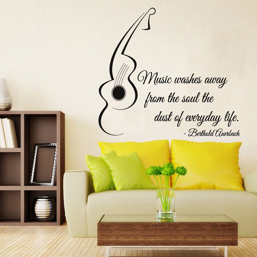 Guitar Wall Decals Quote Music Words Vinyl Decal Sticker Home