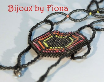 Handmade spider web beaded necklace, beadweaving, goth, Anansi, matte metallic grey, fire colours. Halloween