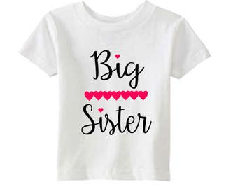 Big Sister Announcement Shirt - Pregnancy Announcement Tee - Hearts - Pregnancy Reveal - White Pink and Black - Sister Reveal