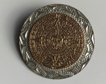 Sterling Silver Mexico Brooch/Pendant With Intricate Design