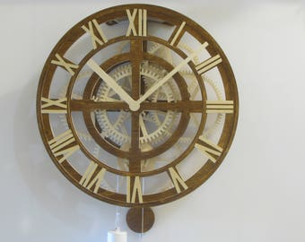 Wood art deco clock / Unusual wall clock