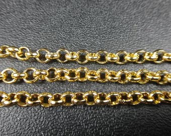 Aluminum Rolo Chain 4x1mm gold color non tarnish jewelry making crafts supplies chain by the foot tarnish resistant (6670)