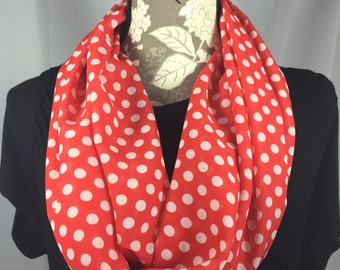 Red Polka Dot Infinity Scarf, Lightweight Scarf, Gift for her, Gift for Wife, Scarves for Women, Mother's Day,Infinity Scarf,Red Scarf,scarf