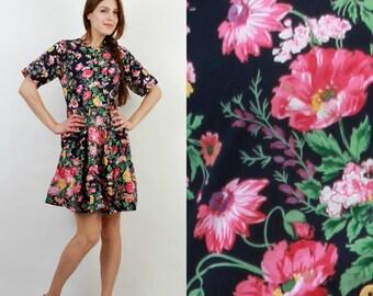 Vintage Floral Dress / 90s Dress / Floral Dress / Summer Dress / Mini Dress / Small Dress / Hummelsheim Dress / Boho Dress / Bohemian Dress