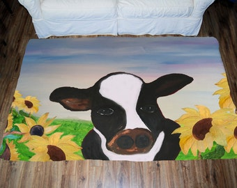 Cow and sunflower field Art Area Rug
