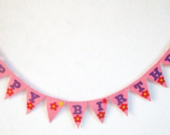 Felt bunting, Happy Birthday bunting banner garland, handmade handsewn pink felt flags with red flowers, and butterflies. Eco-friendly