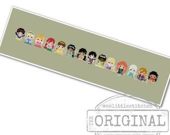 Storybook Princesses The *Original* Pixel People Minis -PDF Cross stitch Pattern - INSTANT DOWNLOAD
