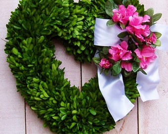 "Wedding Wreath-Spring Front Door Wreath-Boxwood Wreath-Rustic Wedding-Spring Door Wreath-Heart Wreath-16"" PRESERVED BOXWOOD Heart Wreath"