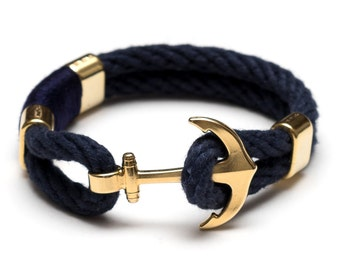 Nautical Rope Bracelet / Nautical Anchor Bracelet / Navy Blue Anchor Bracelet / Gold Anchor Bracelet / Nautical Jewelry / Nautical Gift