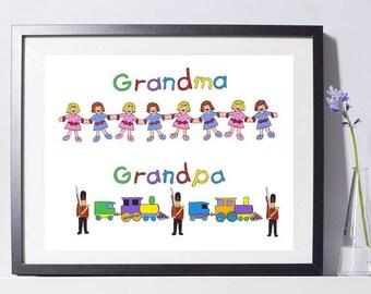 I Love Grandma & Grandpa Art Painting - Grandparents Gift - Grandchild Art - Pat Singer's New York
