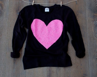 Valentines Day Sweatshirt -  Sequin Heart Sweatshirt Jumper. Womens Heart Shirt. Valentine Heart.  Holiday Gift Idea Women Teen Girls