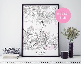 Sydney City Map Print Wall Art   Print At Home   Digital Download File