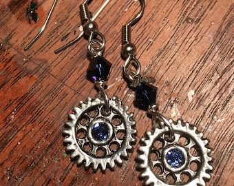 Industrial Elegance Earrings - Custom Colors Available - Gears, Steampunk, Silver, Crystal, Victorian