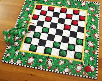 Quilted Santa Checkers Game | Santa Claus Christmas Checkerboard | Santa Checkers | Holiday Checkers Game | Christmas Checkerboard Game