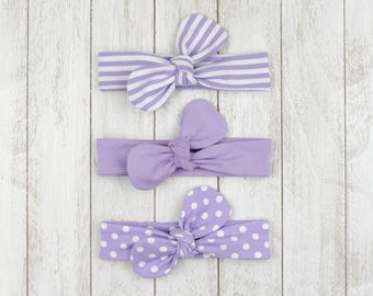 Baby headband knotted bow loop topknot purple lilac white striped hair accessory baby girls Bellabuu