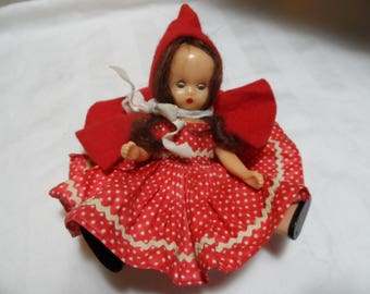 Vintage 1950's STORYBOOK DOLL* Little Red Riding Hood . Movable Body Parts . Collector Doll . Fifties . Miniature Doll .