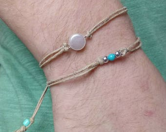 Adjustable hemp bracelet with round pearl charm / adjustable hemp bracelet / hemp jewelry