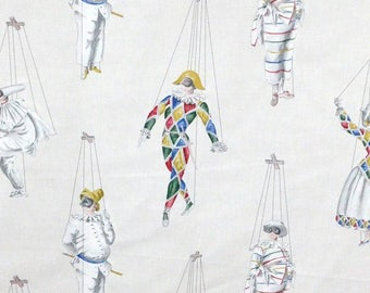 Fabric by the meter, hands, commedia dell'arte, Pierrot, Colombine, Thévenon