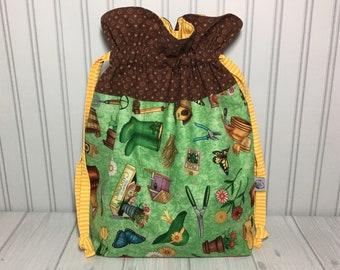 Large Drawstring Knitting Crochet Project Bag - Gardening