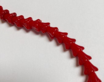 Vintage German Glass Flower Beads in Cherry Red - 45 Pieces - #572
