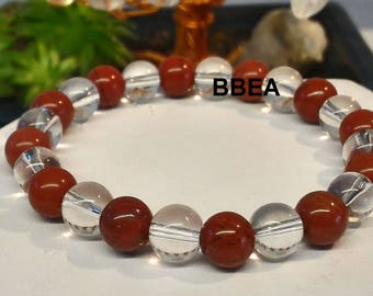 Red Jasper bracelet, reproduction, 8mm pearls and rock crystal.