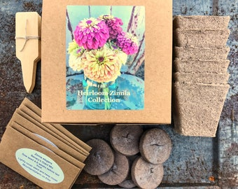 Heirloom Zinnia Garden Kit, Butterfly Gardening, Heirloom Seeds and Seed Starting Supplies in Gift Box, Great Mother's Day Gift