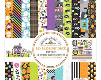 """Doodlebug BooVille Double-Sided Paper Pack 12""""X12"""""""