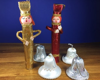 Metallic Bell and Singer Ornaments
