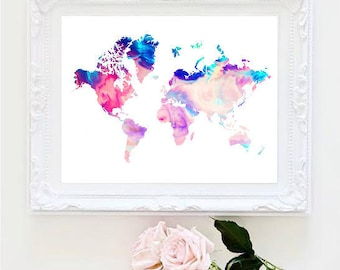 Tumblr room decor etsy printable art marble world map painting map art print room decor typographic print decor framed quotes gumiabroncs Gallery