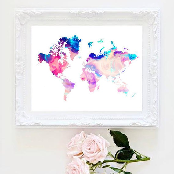 printable art marble world map painting map art print room