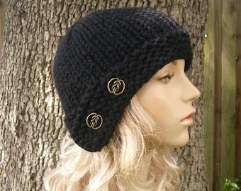 Knit Hat Black Womens Hat - Cloche Hat Black Knit Hat - Black Hat Black Beanie Black Cloche Womens Accessories Winter Hat