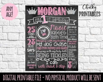 Pink and Silver First Birthday Chalkboard | 1st Birthday Princess Chalkboard Sign | First Birthday Chalkboard Girl | Birthday Chalkboard