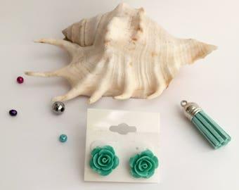 Mint rose earrings, rose earrings, stud earrings, handmade jewelry, mint earrings, handmade earrings, fair, party