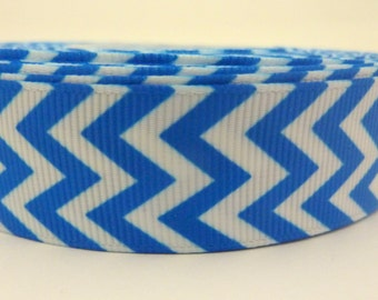 1 Metre of Blue and White Chevron Zig Zag Ribbon