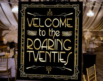 Gatsby Welcome Poster - INSTANT DOWNLOAD - Roaring Twenties Printable Party Wedding Reception & Birthday Art Deco 1920s Sign